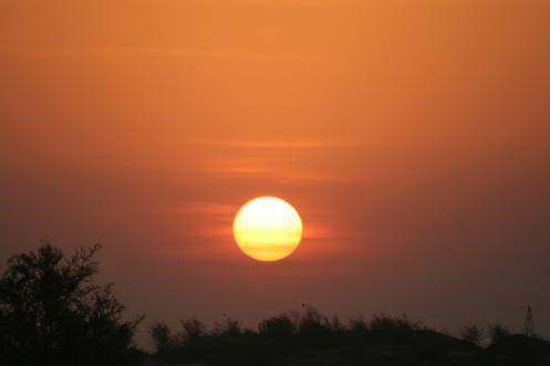 Sunrise by the Aravalli Mountains